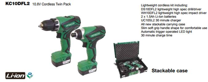 Cordless Twin Pack Drill Lithium Ion Hitachi